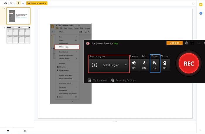 Klik op Show Mouse Cursor voor een betere opname van slides