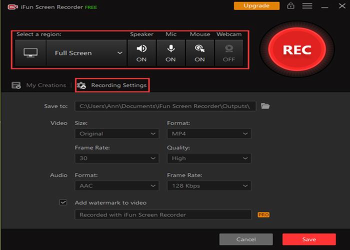 Configura le impostazioni di registrazione in uno registratore dello schermo 1080p