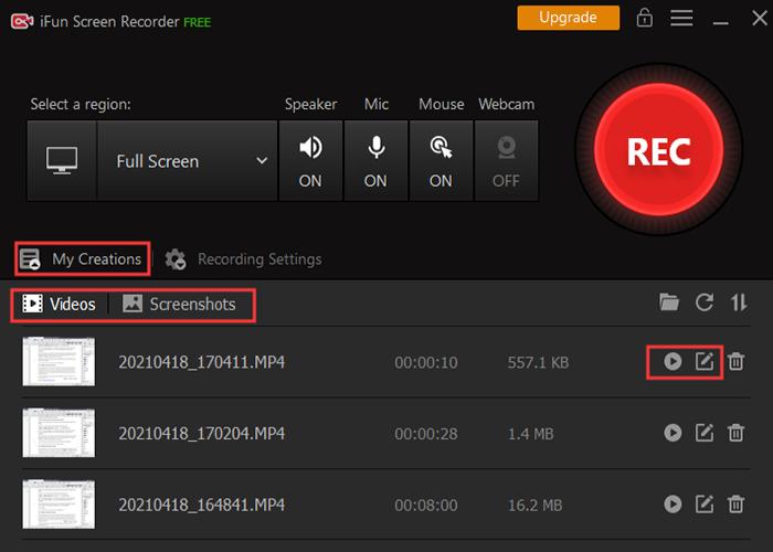 Modifica le registrazioni nel miglior registratore dello schermo 1080p per Windows