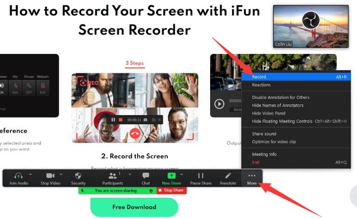 come registrare il tuo schermo con la webcam su Zoom – passo5