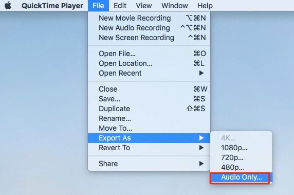 YouTube Audio opnemen exporteren in QuickTime Player