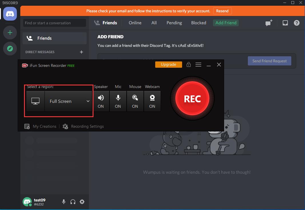 Usa iFun Screen Recorder per registrare la chat di Discord