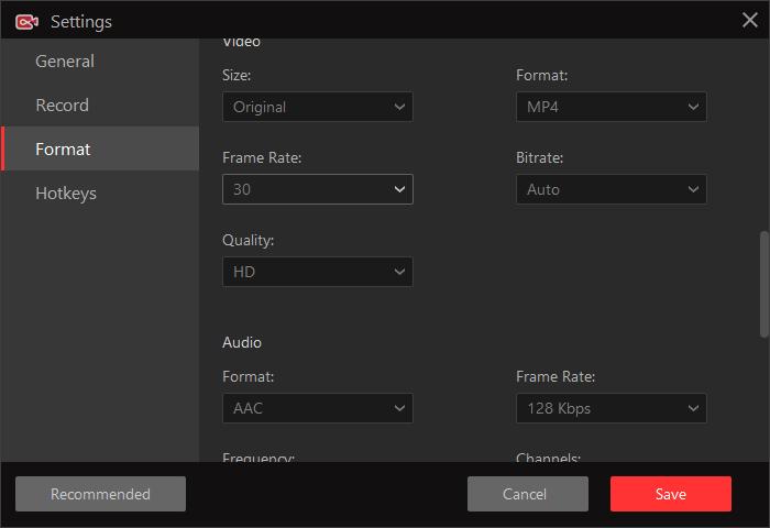 Miglior programma per registrare schermo PC - Impostazioni