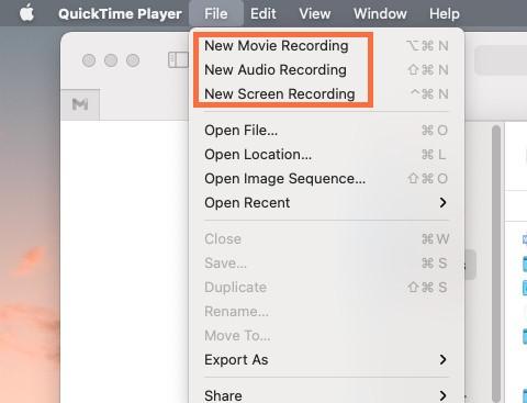 Miglior programma per registrare schermo PC - QuickTime Player