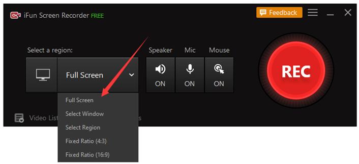 Seleziona area da registrare - iFun Screen Recorder