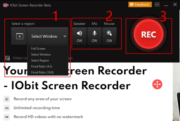 How to Use IObit Screen Recorder - Step 2