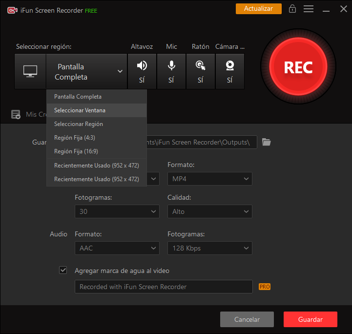 seleccionar lo que quieres capturar con iFun Screen Recorder