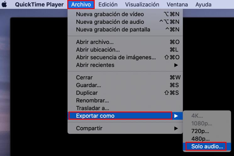 exportar audio con QuickTime Player
