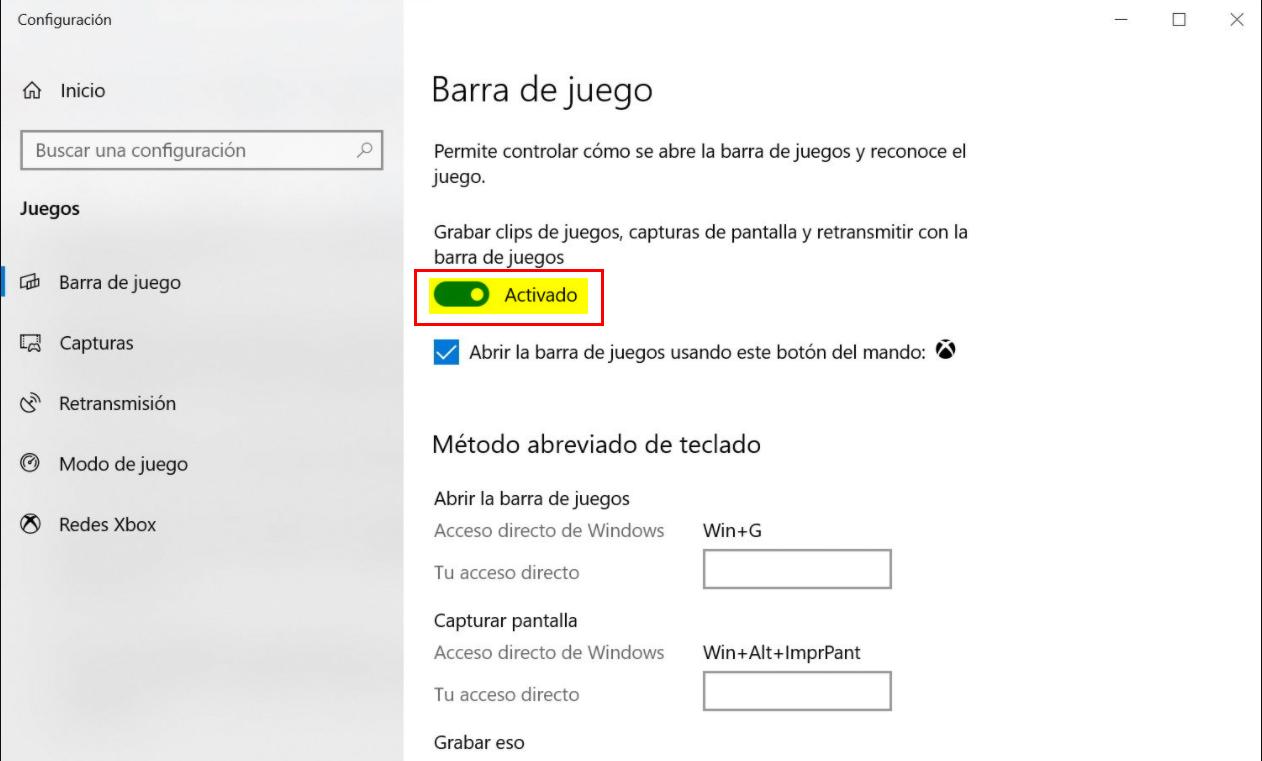 Capturar video con Xbox Game Bar