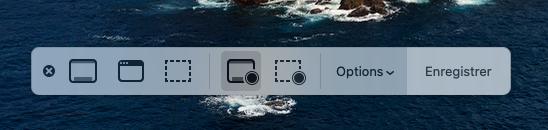 la barre d'outils Capture d'écran