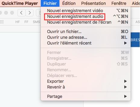 Choisir nouvel enregistrement audio sur mac