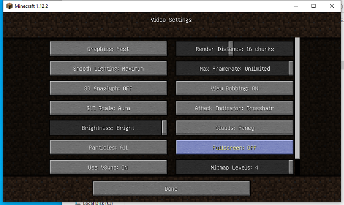 Configurer le mode fenêtré ou le mode en plein écran