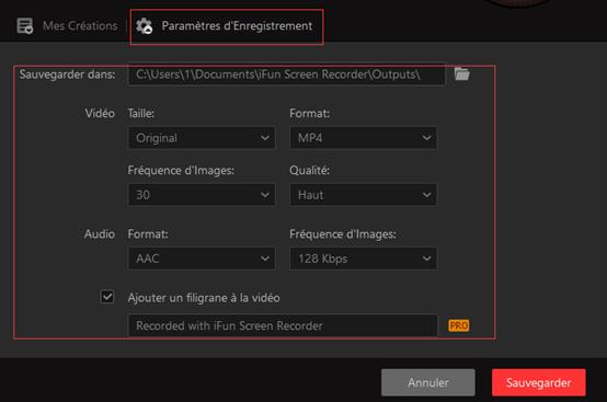 Configurer les paramètres pour enregistrer une vidéo