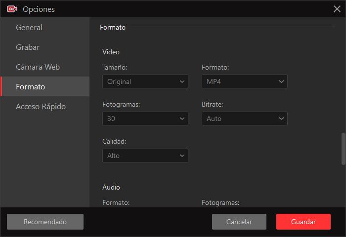 configuración de iFun Screen Recorder