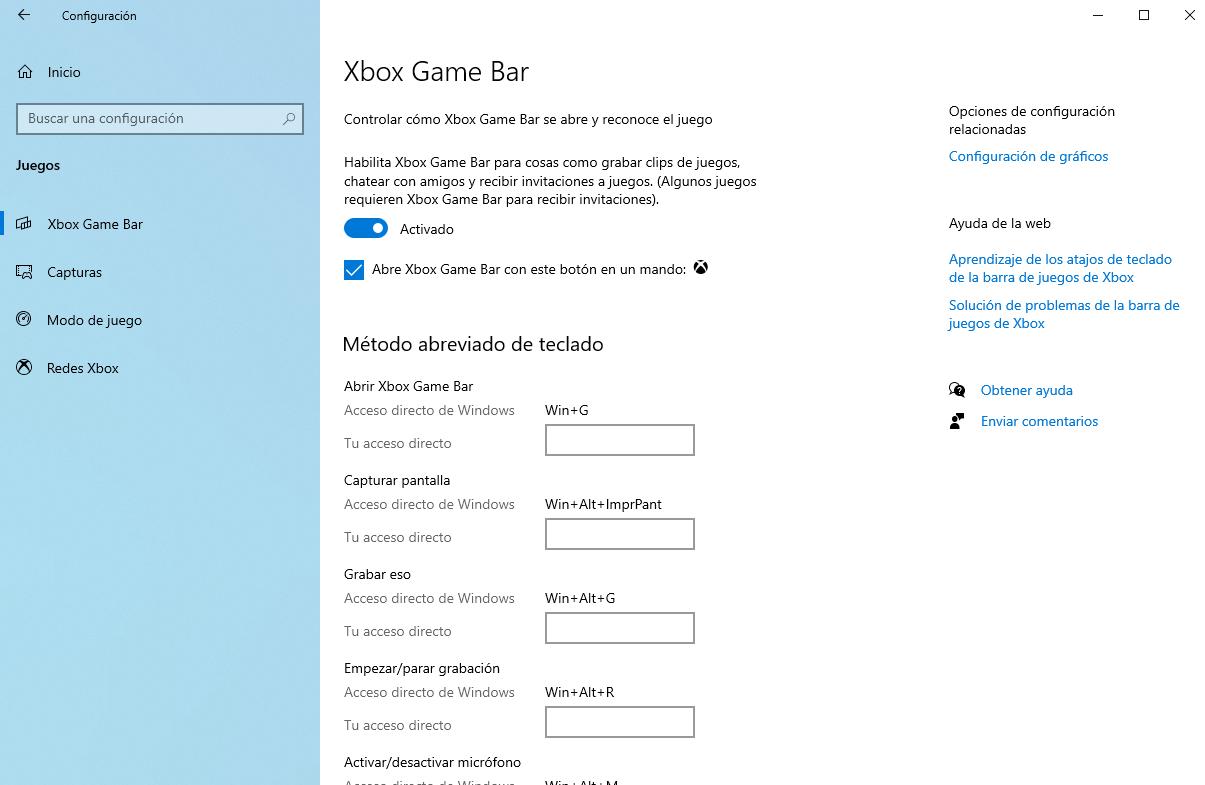 Xbox Game Bar para grabar la pantalla