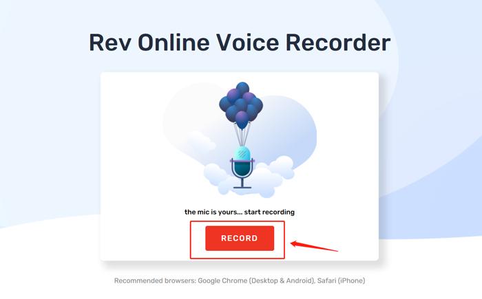 аудиорекордер для записи MP3 онлайн-Rev Voice Recorder