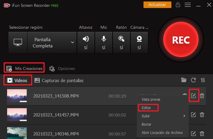 editar con iFun Screen Recorder