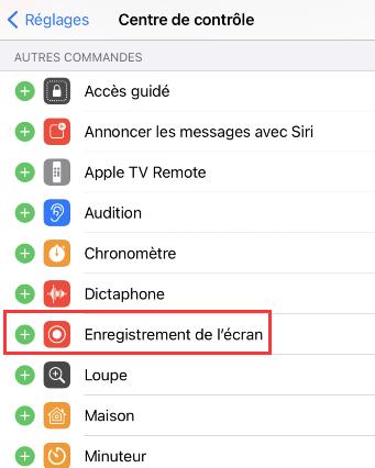 Enregistrer son écran iPhone - Activer l'enregistrement