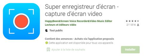 Enregistrer l'écran de son écran Android avec Super Screen Recorder