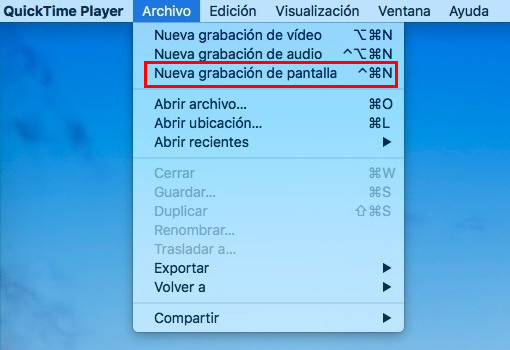 Grabar pantalla de Mac con Quick Time Player - Paso 2