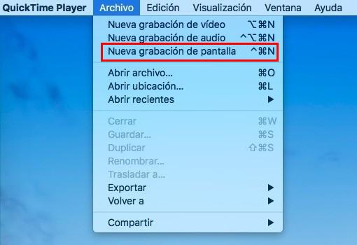 grabar pantalla de mac con Quicktime - Paso 2