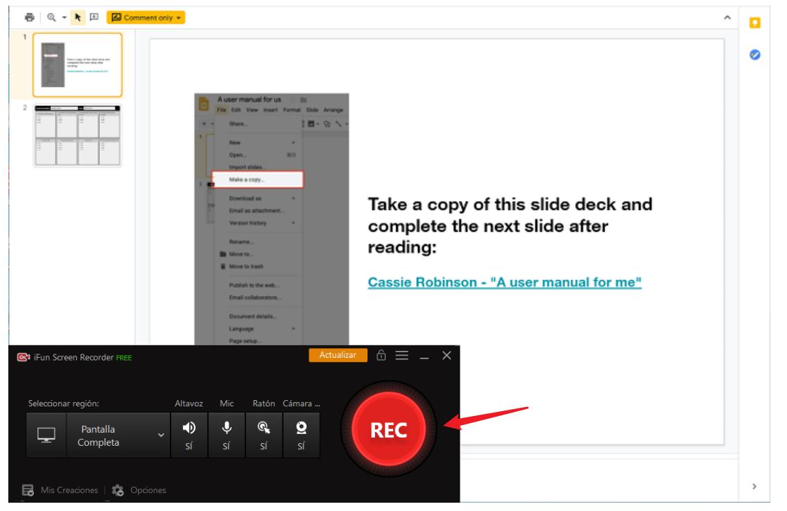 grabar videos de google slides con iFun Screen Recorder