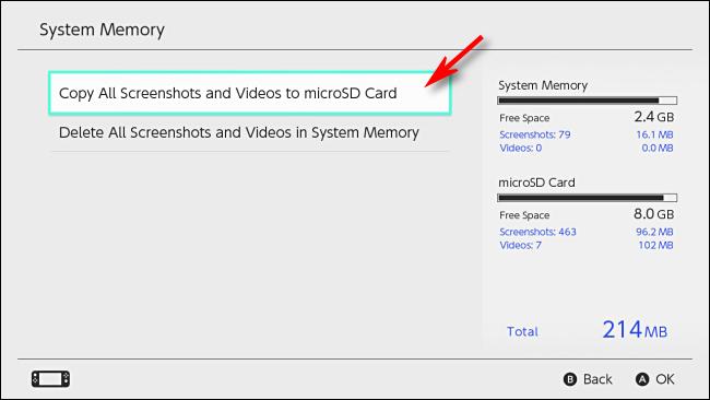 Скопируйте все Записанные Игровые Видео на SD-карту