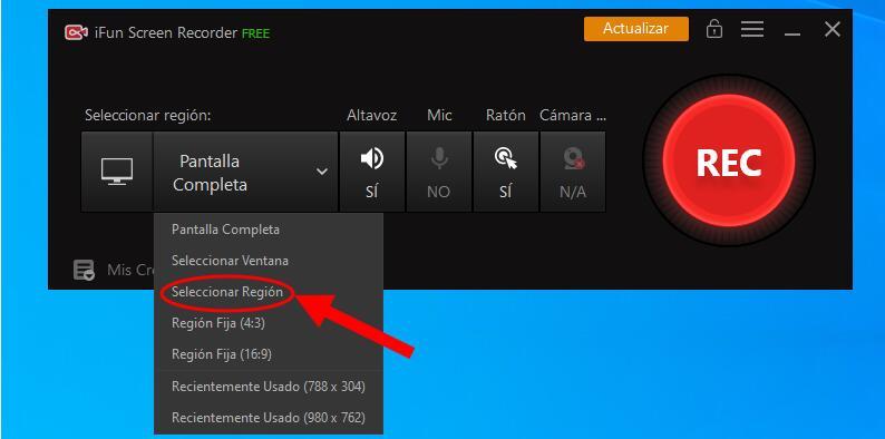 IFun Screen Recorder grabar parte de pantalla