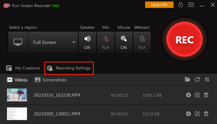 ifun screen recorders' settings