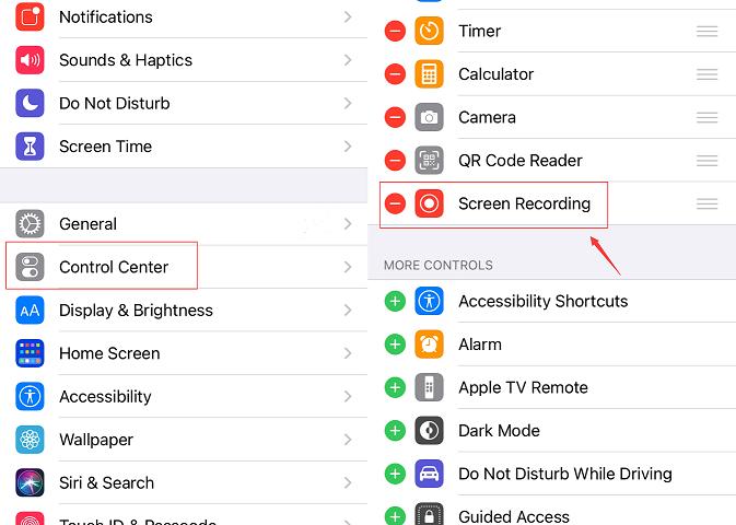 Add Screen Recorder to Control Center