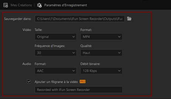 iFun Screen Recorder – configurer les paramètres