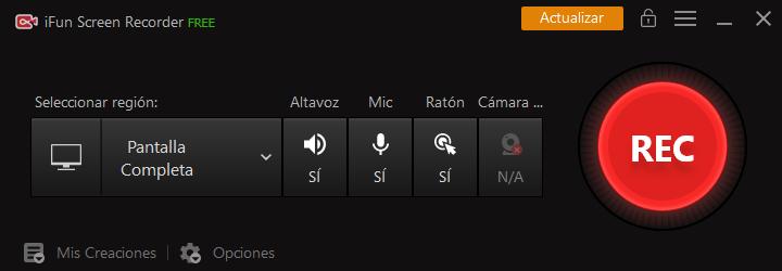 interfaz principal de iFun Screen Recorder