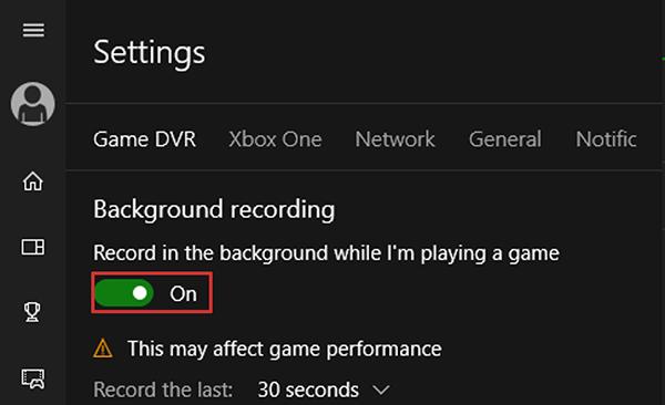 Xbox Game Bar настройки - Включиение фоновой записи