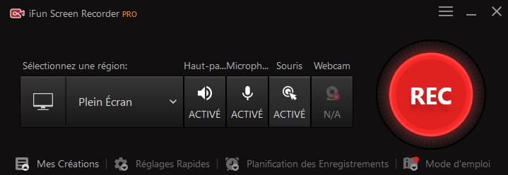 Interface d'iFun Screen Recorder