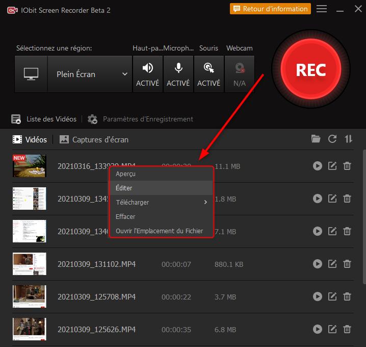 Editer des vidéos