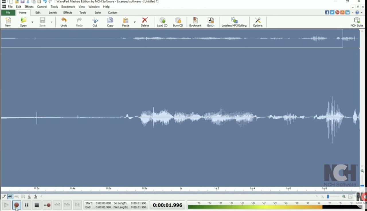 Registra MP3 da un video YouTube con WavePad