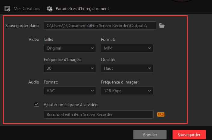 Configurer les paramètres d'enregistrement Minecraft