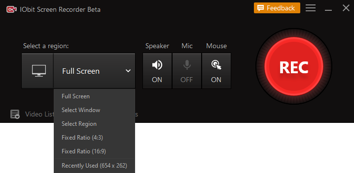 Paso 2. Desde toda la pantalla hasta un pequeño cuadro de diálogo, puedes seleccionar cualquier zona de tu pantalla para empezar a grabar.