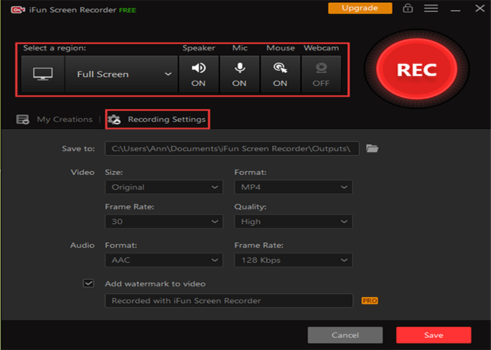 Set up Recording Settings in a 1080p Screen Recorder