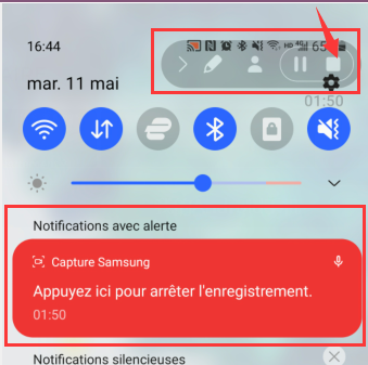 Stopper l'enregistrement d'écran de son smartphone Android