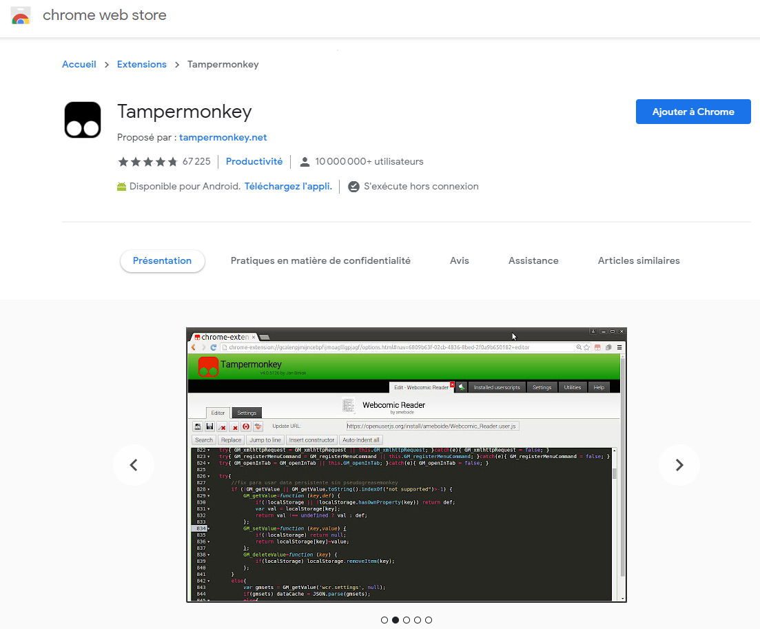 Ajouter Tampermonkey à Chrome