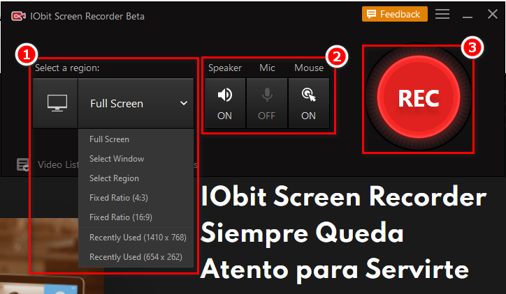 Cómo usar IObit Screen Recorder - Paso 2