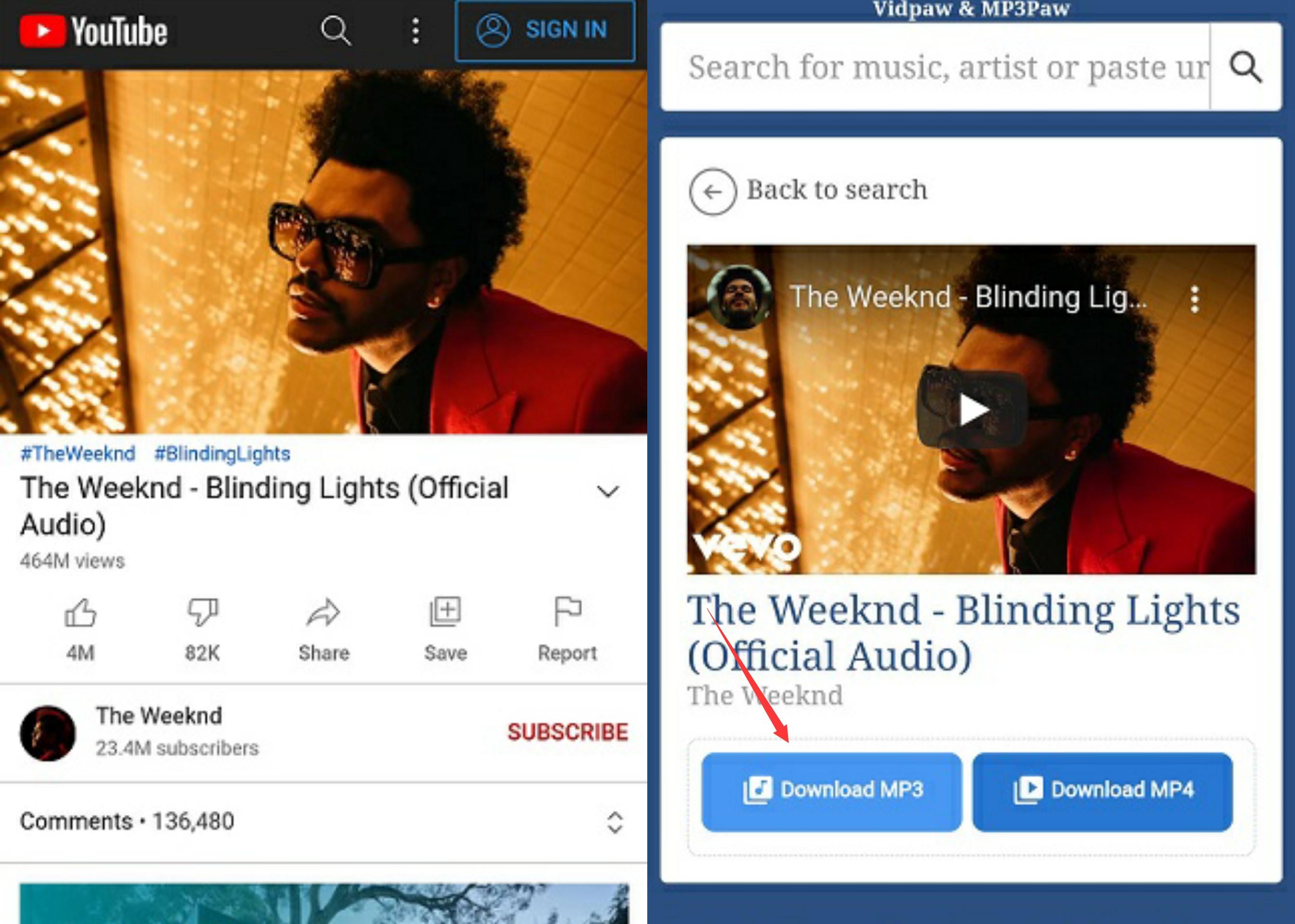VidPaw de Android en YouTube Paso 2