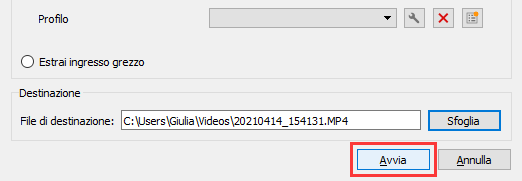 Iniziare la registrazione del flusso video