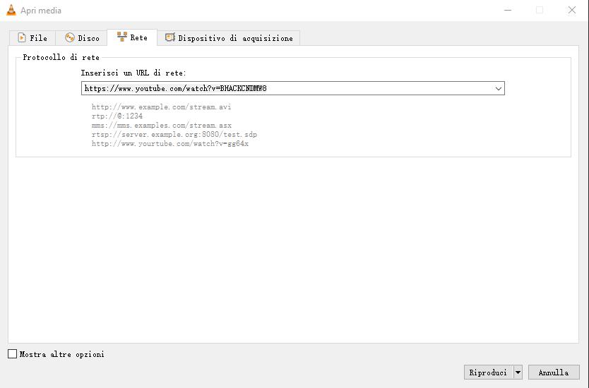 registra il Live Streaming di YouTube con VLC