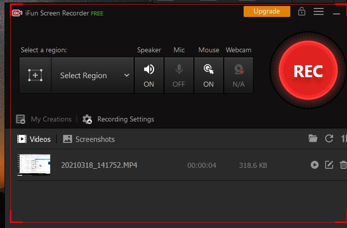 iFun Screen Recorderで画面を長時間に録画-録画開始
