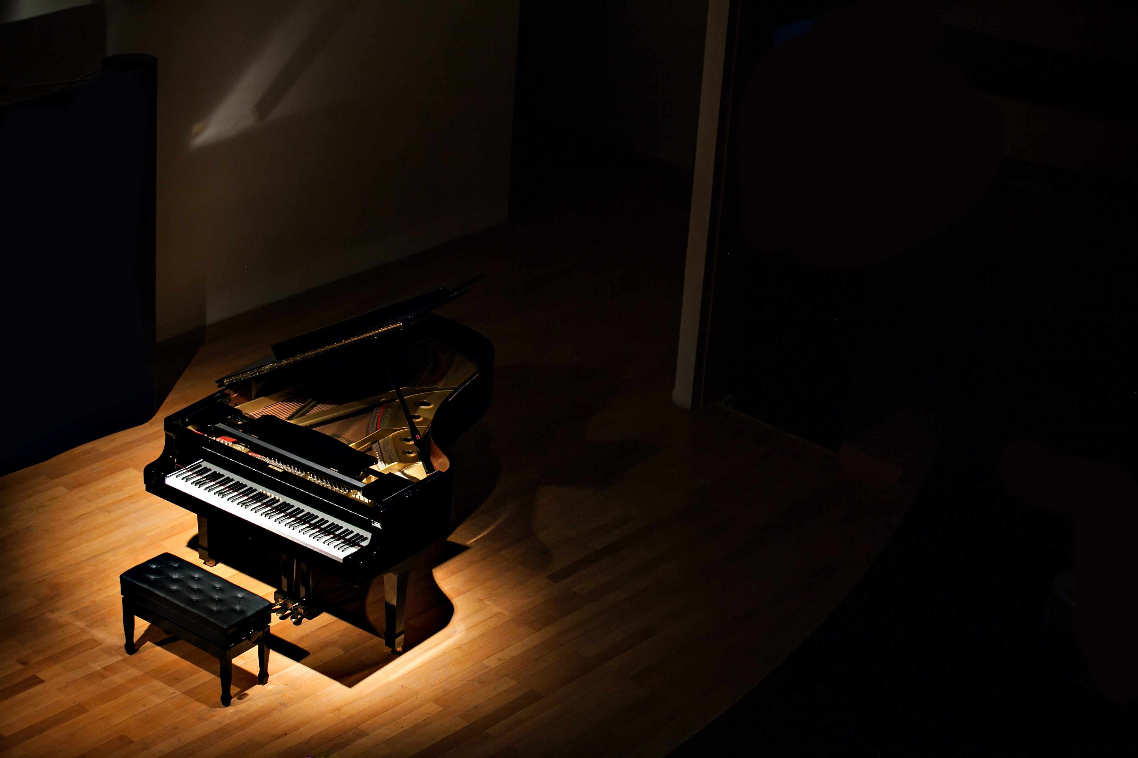 Grand piano in a stage
