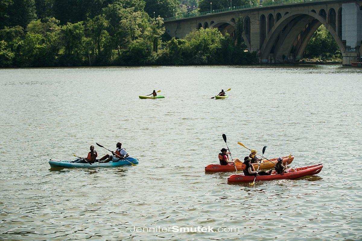 kayakers at wedding