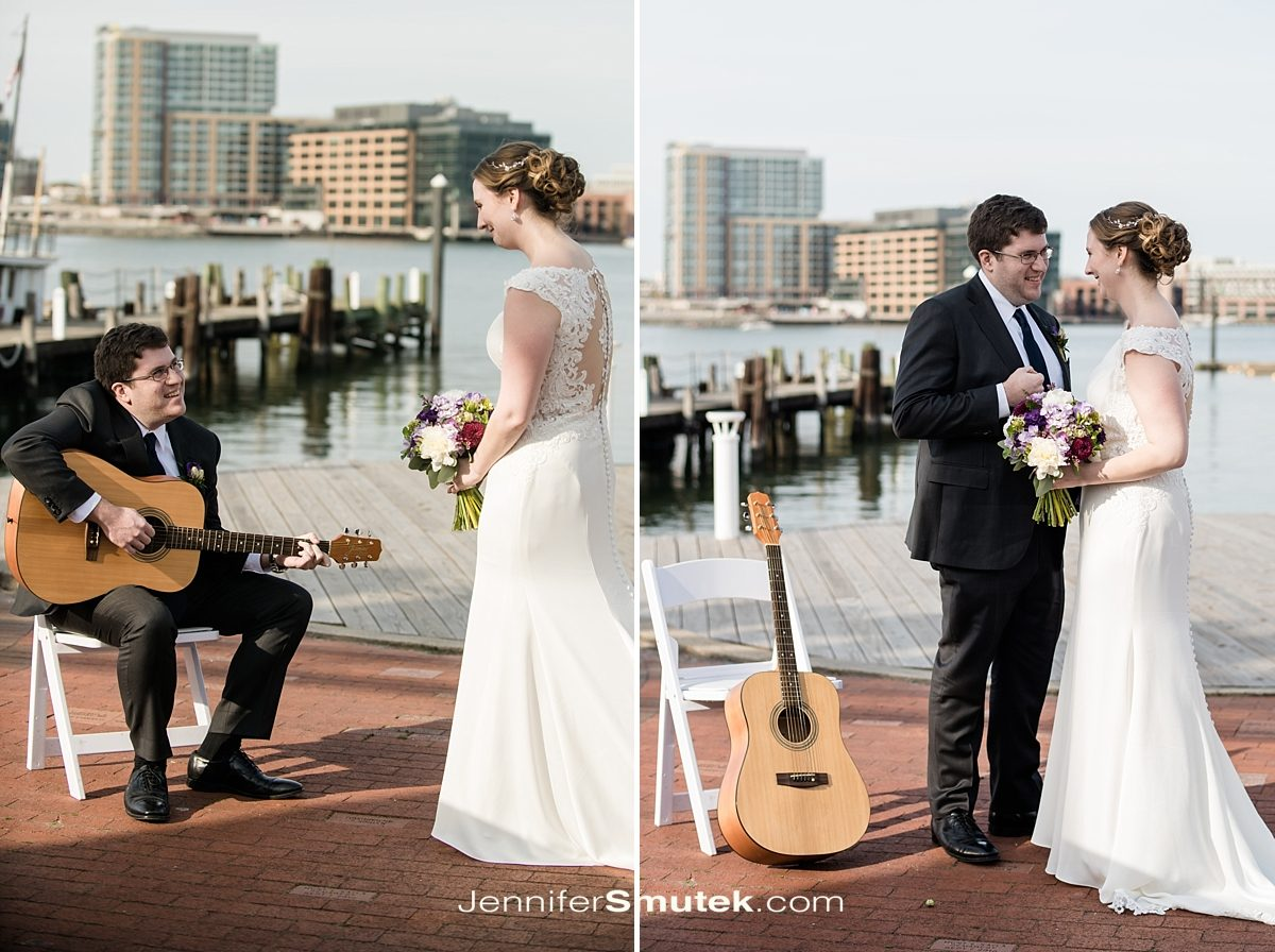 groom playing guitar first look at baltimore museum of industry in baltimore