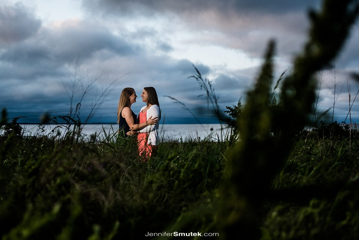 engagement photos of two brides at the Philip Merrill Enviornmental Center